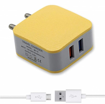 SClout SC110 2.5 Amp Dual Port Mobile Charger with Micro USB Data Cable (Yellow)