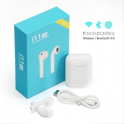 SClout i11 5.0 Wireless Earbuds with Portable Charging Case (White)