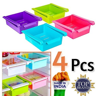 4 Pcs Fridge Space Saver Organizer Slide Storage Rack Shelf Drawer (Random Colours)